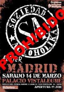Cancelado Concierto S.A. en Madrid