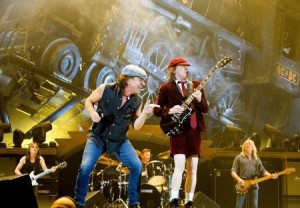 Rock band AC/DC lead guitarist Angus Young and vocalist Brian Johnson perform during a concert at the Telenor Arena in Fornebu