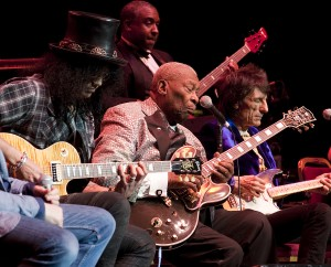 American blues guitarist B.B. King performing with his band and special guests at London's Royal Albert Hall for Bluesfest, 2011